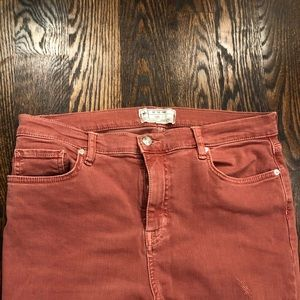 FREE PEOPLE *HIGH WAISTED* PINK ANKLE CROP JEANS